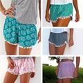 2015 Cortocircuitos de las Mujeres Borla Playa Bohemio Impresión de Las Mujeres Flojas Corto Feminino Plus Size S-XL