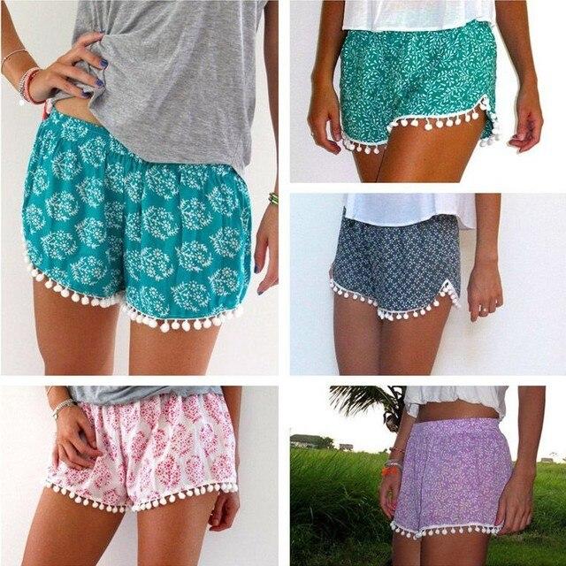 3c3362435 2015 women Shorts Women Beach Tassel Bohemian Print Loose Women's Short  Feminino Plus Size S-XL