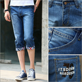 Summer style men jeans high quality mid waist straight casual calf length pants Free Shipping MF7495821