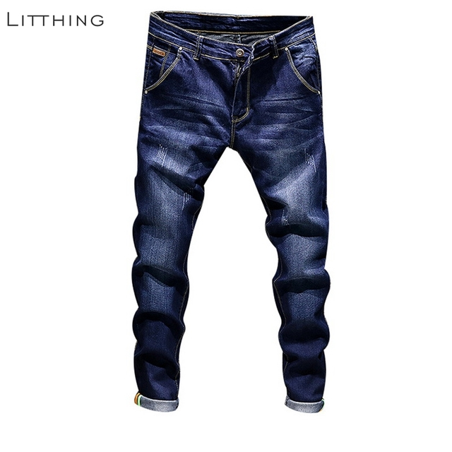 Litthing diseñador de moda Vaqueros Skinny Hombre recto Color azul oscuro  impreso para hombre Casual Biker 36ae7475685