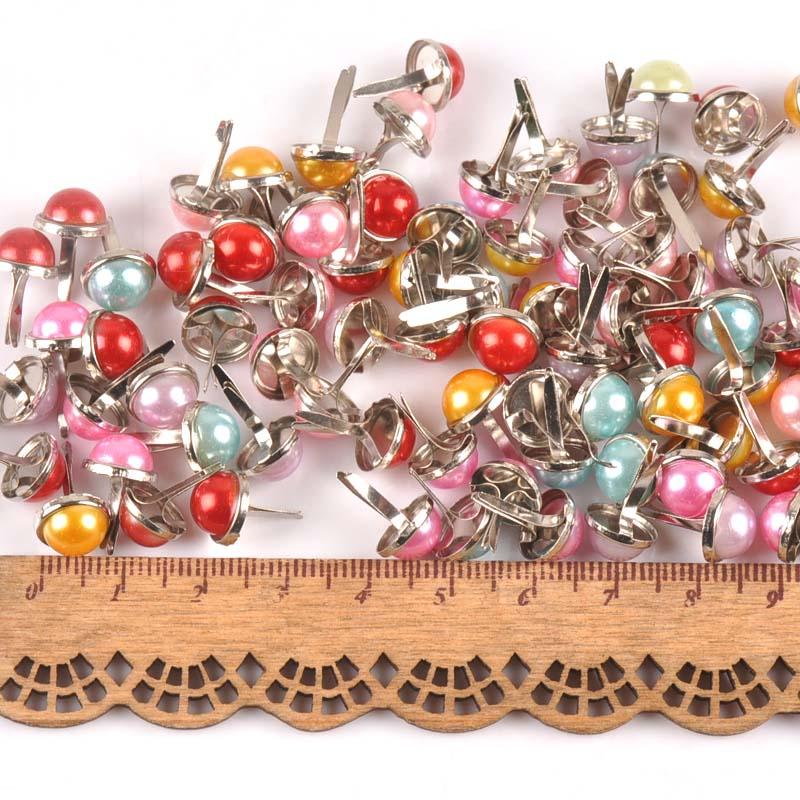 6x Mini Craft Pearl Brads Split Pins Card Fasteners Scrapbooking Decorations