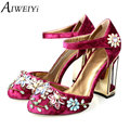 Aiweiyi mulher verão 2017 primavera strass sapatos de salto alto de casamento sapatos de noiva rendas sapatos de festa plataforma para as mulheres zapatillas mujer
