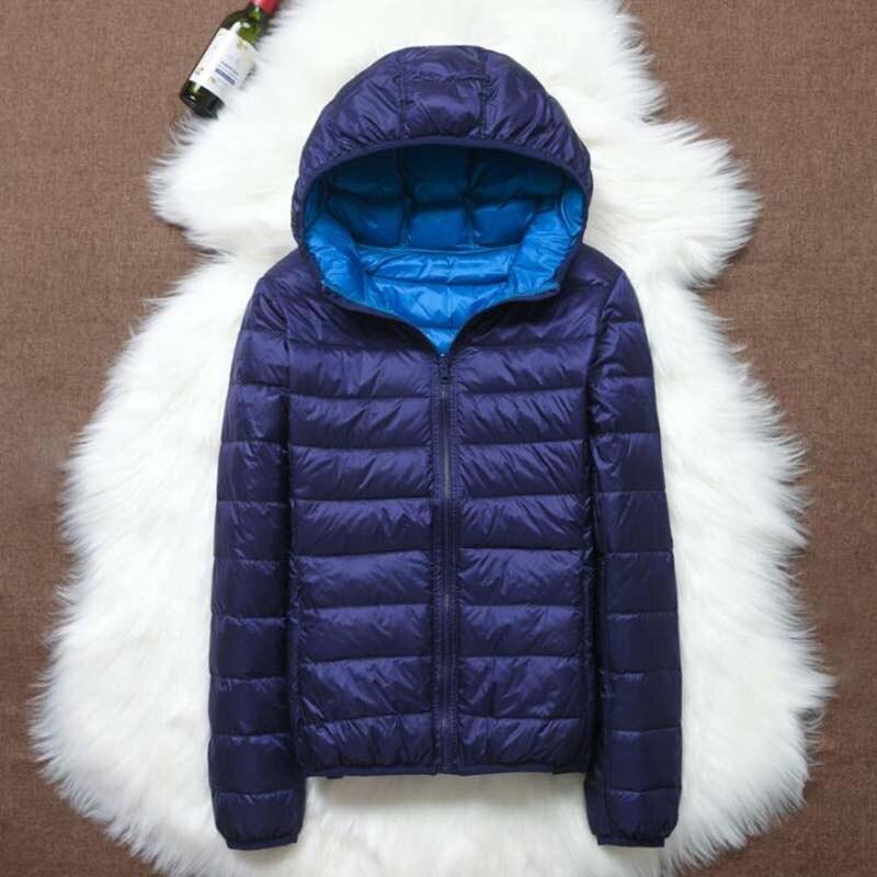 Autumn Winter Women Double-Sided Wear Hooded Ultra Light White Duck   Down     Coat   Women   Down   Jacket Plus Size Slim Jacket LP039