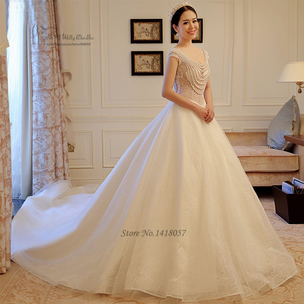 Church Pearls Wedding Dresses Lace Ball Gown Bride Dress