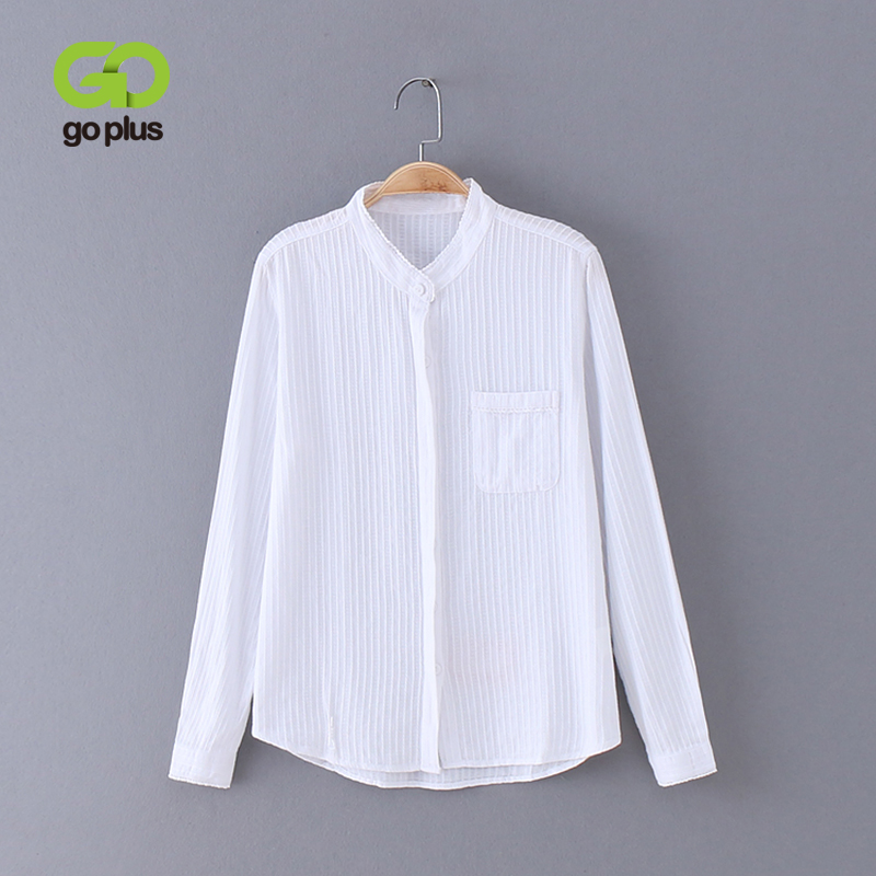 GOPLUS 2019 New Striped White   Blouse   Tops Sweets Flower Edge Stand Collar Women   Blouses     Shirt   Long Sleeves Blusas C4271