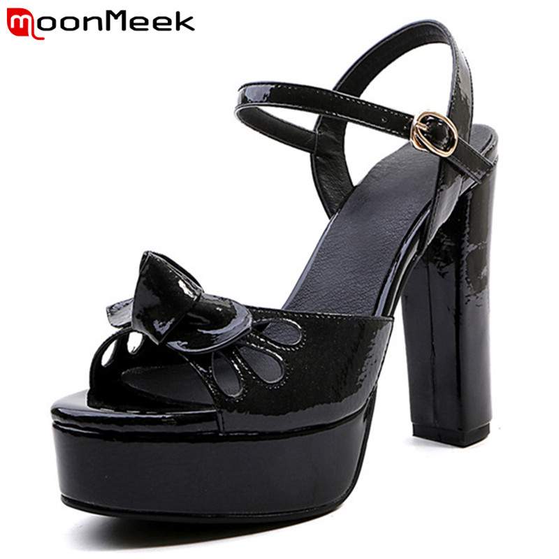 MoonMeek 2018 new arrive summer women sandals bowknot buckle top quality genuine leather shoes fashion simple shoes woman memunia 2018 new arrive women summer sandals sweet bowknot casual shoes simple buckle comfortable square heele shoes woman