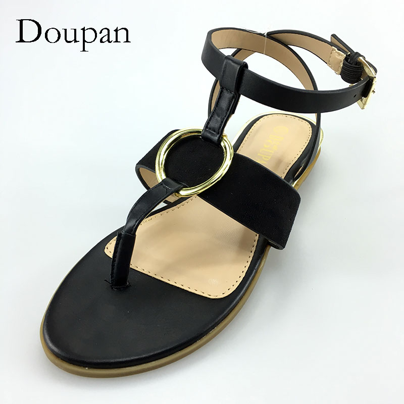 Doupan Fashion Women Sandals 2017 Summer Style Gold Ring Decoration Black Ankle Strap Elegant Sandals Women Beach Shoes ring style cell phone decoration cord strap black silver 2 pcs
