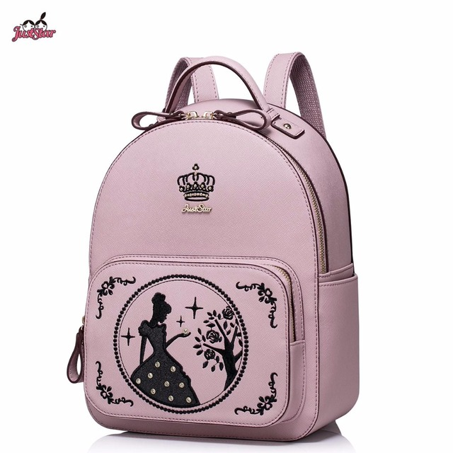74bf8c38d702 Just Star Brand Design Cute Princess Embroidery PU Leather Women s Backpack  Travel Bag For Girls