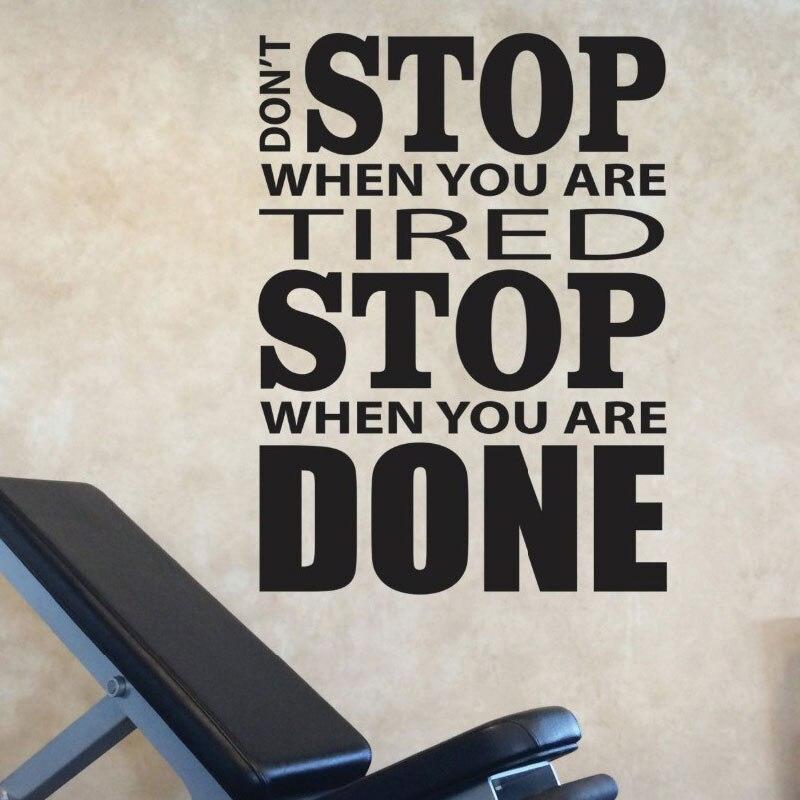 Nicht Stoppen, Wenn Sie Müde Sind Stoppen, Wenn Sie Fertig Sind Vinyl Wandtattoos Motivation Gym Design Fitness Wandaufkleber Zitate E686