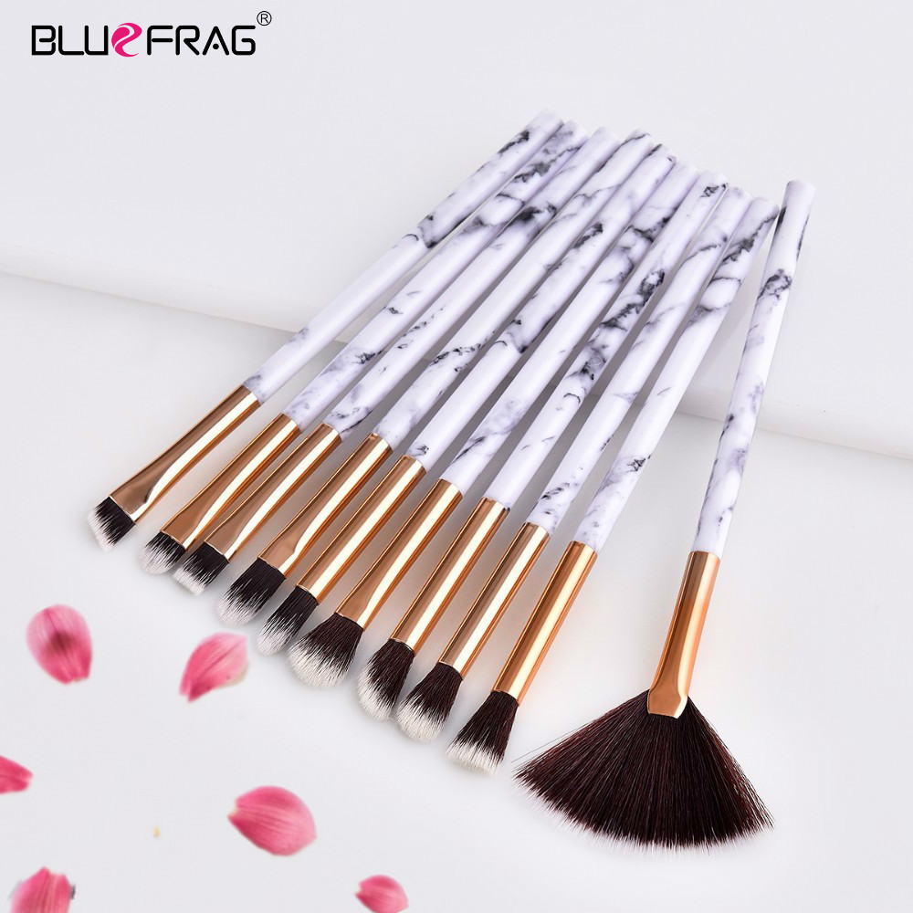 2/4/10pcs Marble Makeup Brushes Tools Set Pro Marbling Handle Eye Shadow Eyebrow Lip Powder Foundation Comestic Make Up Brush