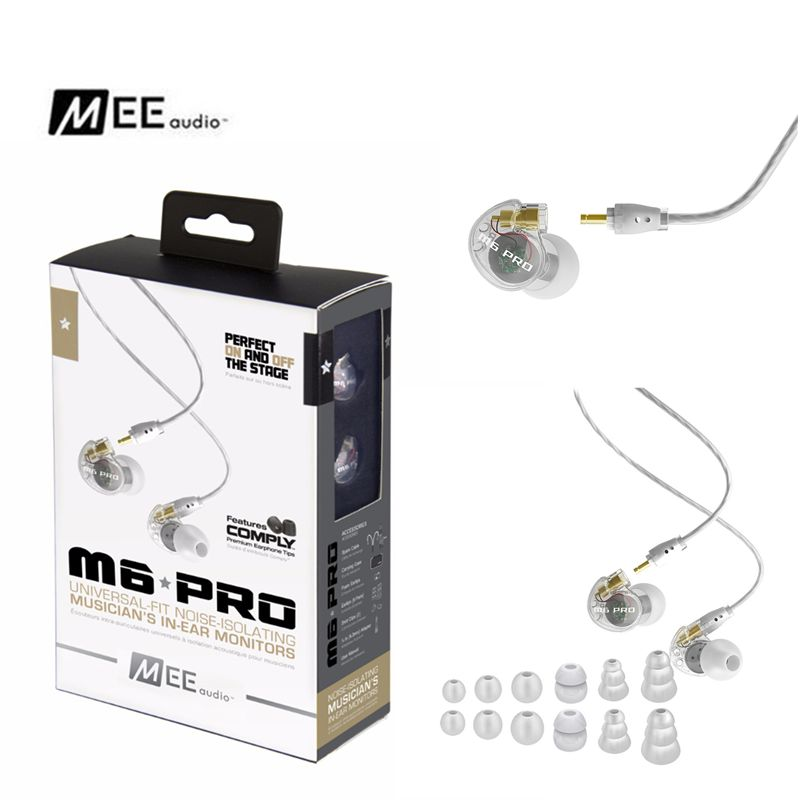 Original MEE audio M6 PRO Noise Isolating Music In Ear Headsets Black/White Universal Fit Wired Earphones VS SE215 SE535 SE315 new wired earphone mee audio m6 pro universal fit noise isolating earphones musician s in ear monitors headset good than pb3 pb