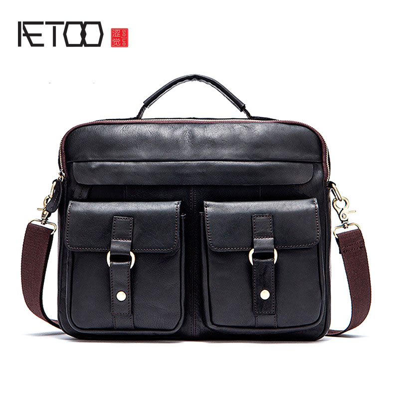 AETOO Man bag business men's briefcase handbag cross section 14 inch computer Messenger bag leather aetoo with leather handbag section briefcase men and women fashion personality business package canvas laptop bag 15 inch