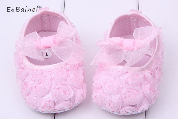 Pink Bowknot Baby Girl Lace Shoes Toddler Prewalker Anti-Slip Shoe Simple Baby Shoes