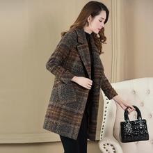 Клетчатое шерстяное пальто женские осенние и зимние новые модные тонкие длинные темперамент большие размеры шерстяное пальто TB190216