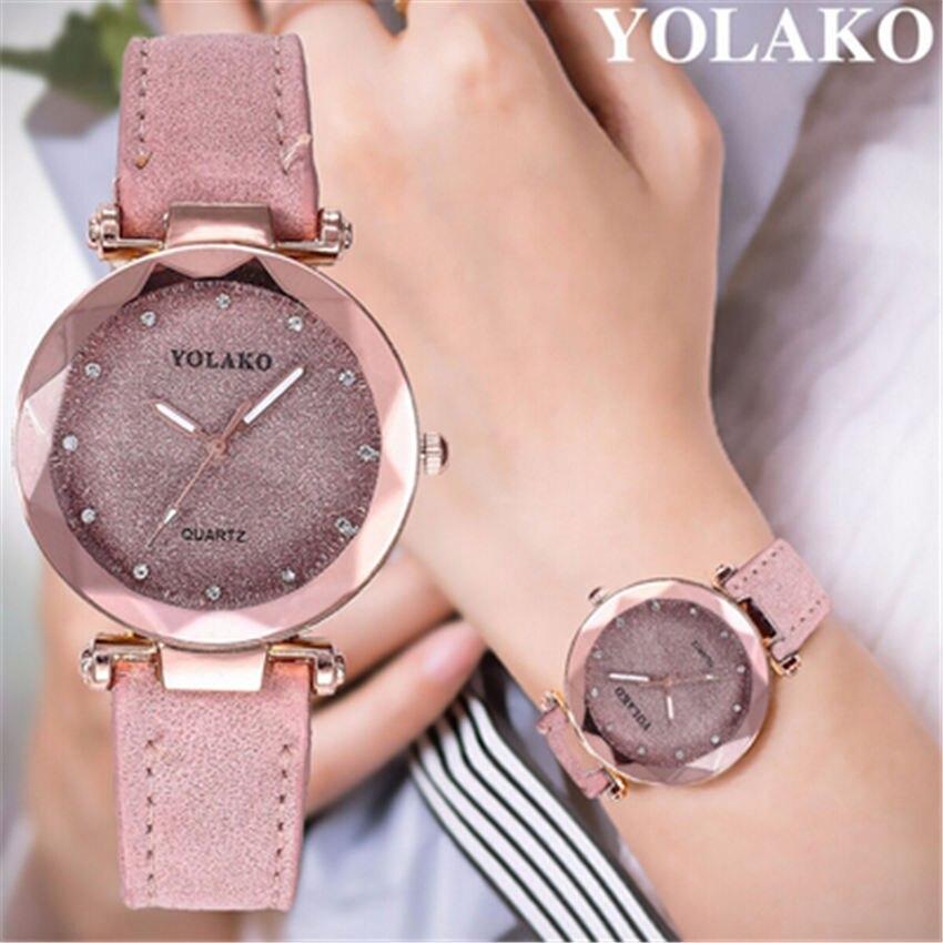 Dropshipping Women Romantic Starry Sky Wrist Watch Leather Rhinestone Designer Ladies Clock YOLAKO Brand Relogio Feminino #B