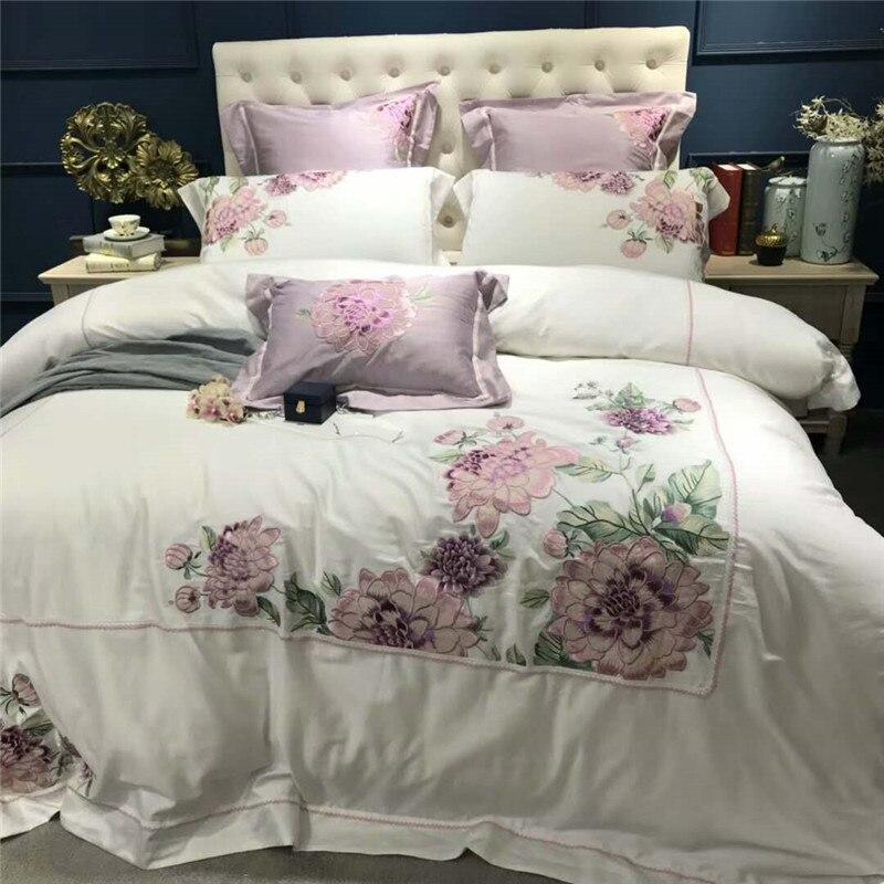 Ev ve Bahçe'ten Yatak Takımları'de Lüks Beyaz Mısır Pamuk Nakış Yorgan yatak örtüsü seti 4/7 Adet Çift Kraliçe çift kişilik yatak seti Çarşaf seti yatak takımı'da  Grup 1