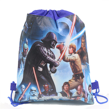 12Pcs Star Wars Storm Trooper Cartoon Kids Drawstring Printed Backpack Beach Shopping School Traveling Shoulder Bags 34*27CM