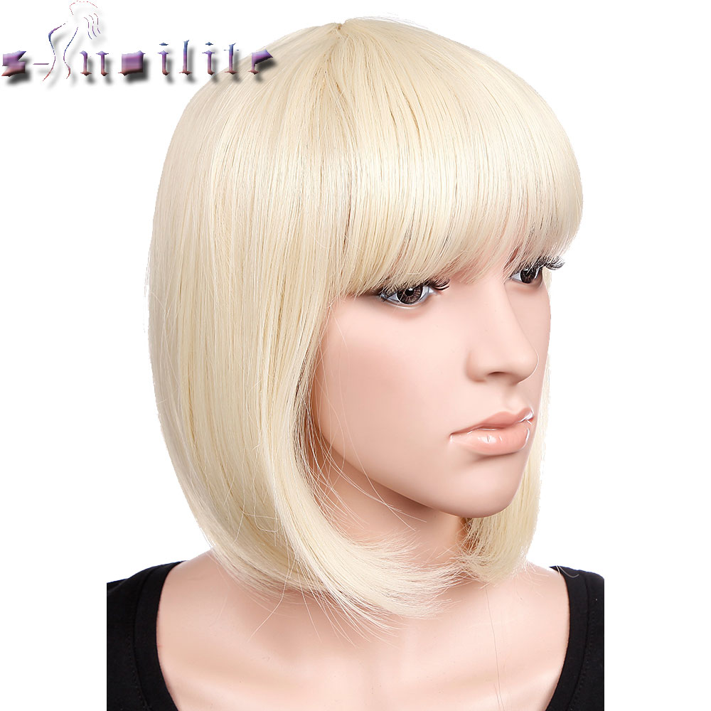 S-noilite Short Straight Hair Wig Black Brown Blonde Red Women Synthetic Full Head Wigs With Flat Bangs Heat Resistant headpiece