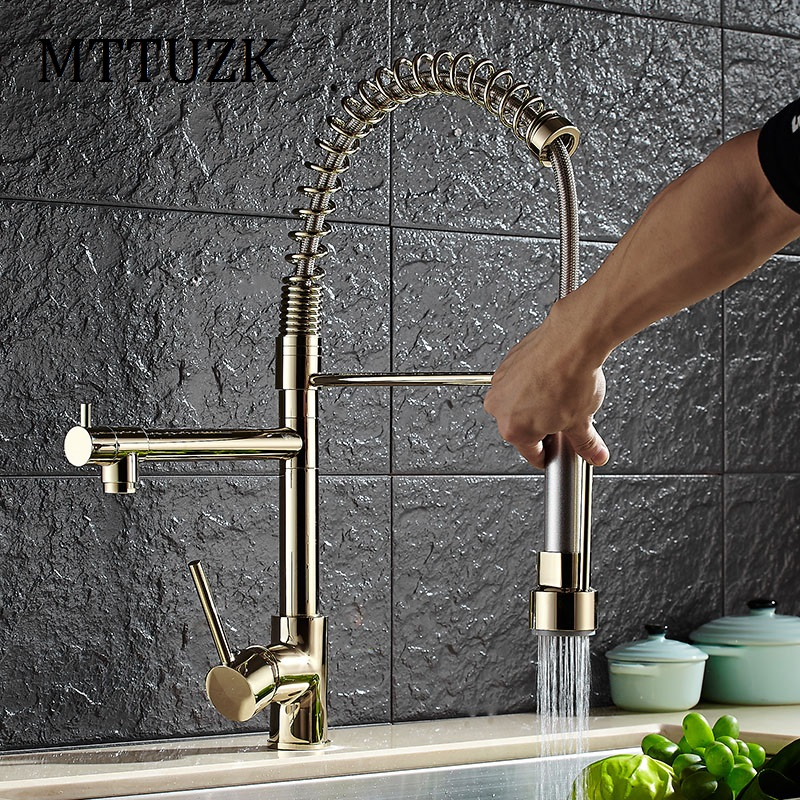 MTTUZK Spring Styl Kitchen Faucet With Pull Out Vessel Sink Mixer Tap Deck Mounted Kitchen Robinet Nickel/Chrome/Gold Faucet good quality wholesale and retail chrome finished pull out spring kitchen faucet swivel spout vessel sink mixer tap lk 9907