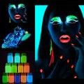 Cara Cuerpo Pintura Luminosa Partido de la Etapa de Maquillaje de La Piel Polvo de Brillo en la Pintura Oscura