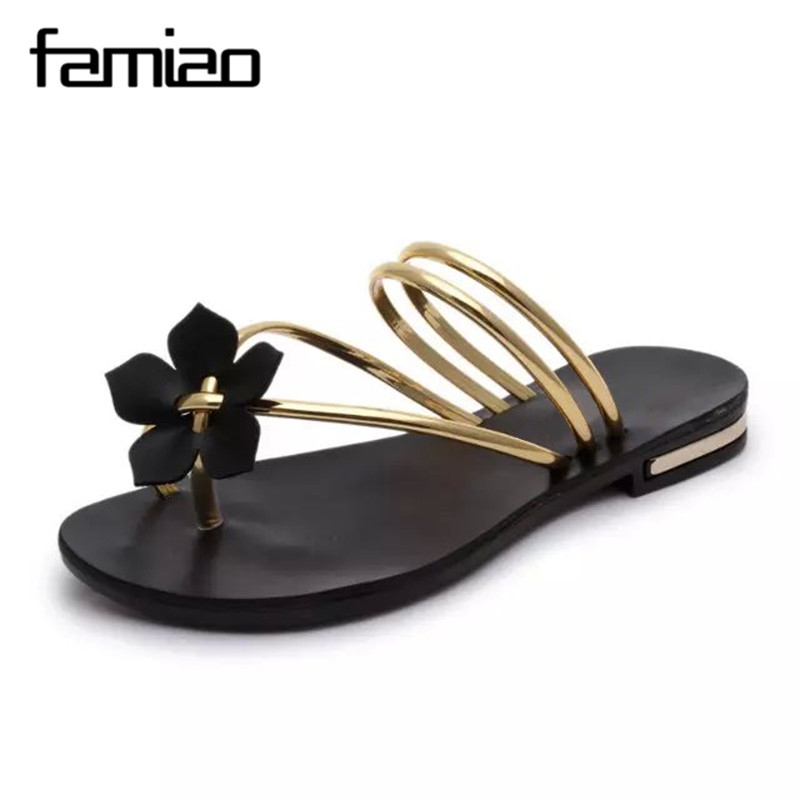 2016 New Arrival Summer Women Slides Metal Women Shoes Chains Flip Flops Flats Beach Flat Heel Shoes 35-40 Free Shipping breathable women hemp summer flat shoes eu 35 40 new arrival fashion outdoor style light