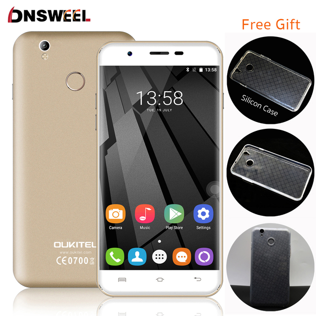 Free Silicon Case Oukitel U7 Plus 4G Cell Phone MT6737 Quad Core Fingerprint ID Smartphone 2G+16G 13MP Android6.0 mobile phone