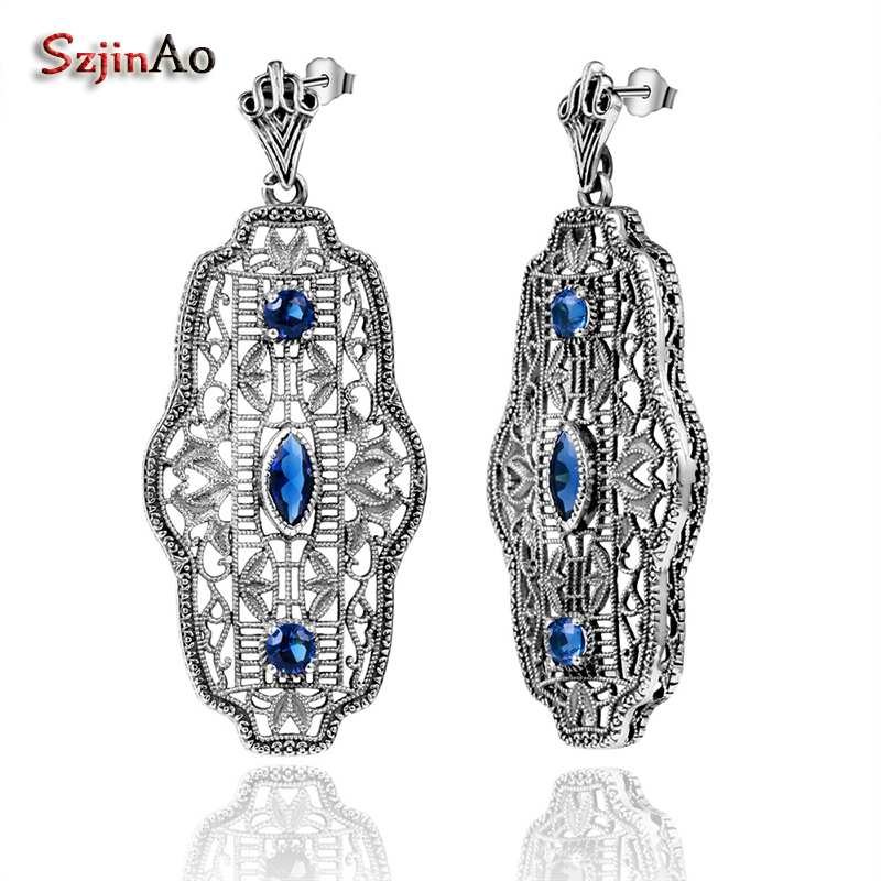 Szjinao Party Blue Crystal Earrings Lace Vintage Style Bohemian Genuine 925 Sterling Silver Fashion Jewelry For