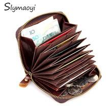Echtes Leder Unisex Kartenhalter Brieftaschen Öl Wachs Leder Weibliche Kreditkarteninhaber Männer Stamm Reißverschluss Vintage Geldbörse