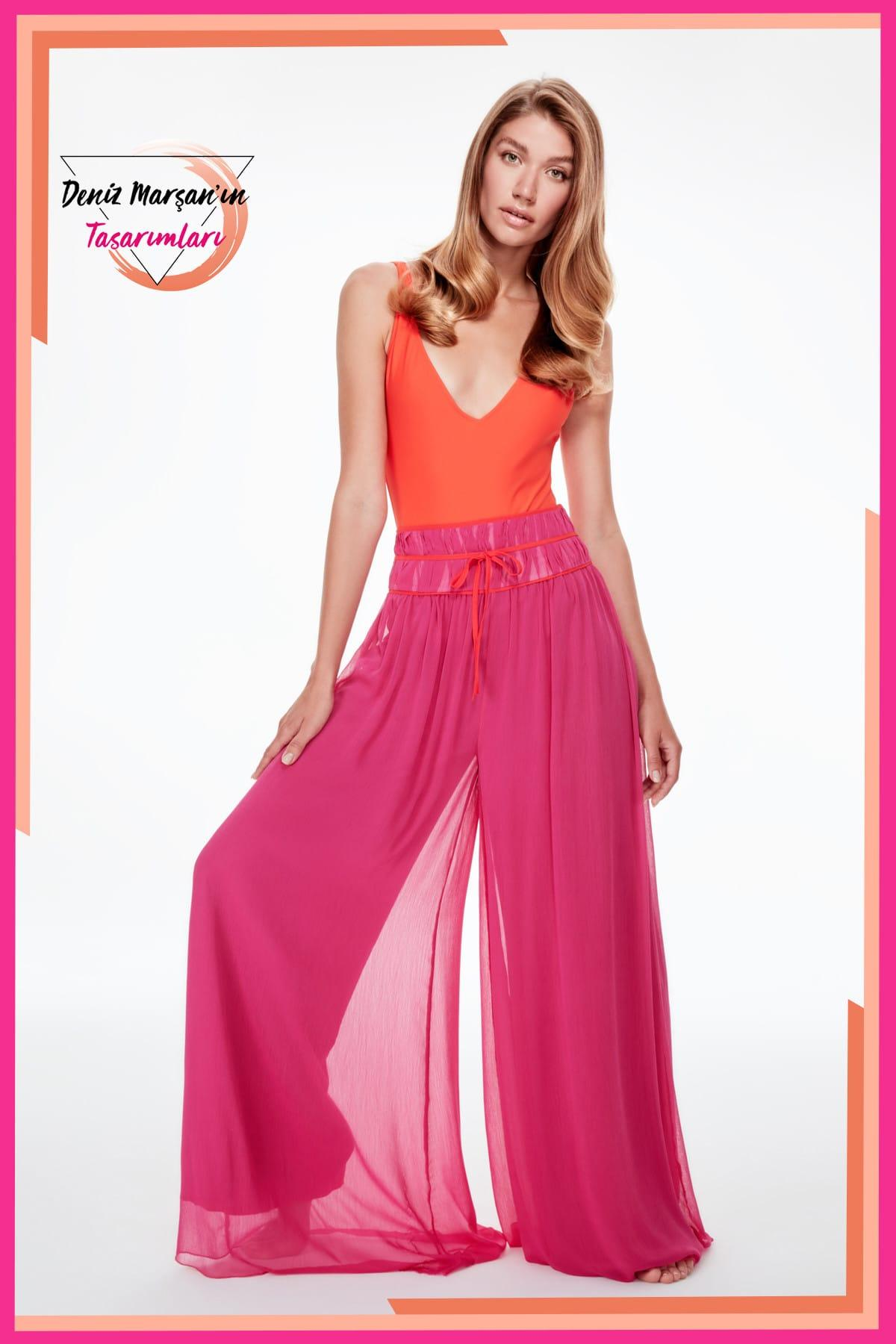 Trendyol Fuchsia Flare Piping Pants TWOSS19PL0154