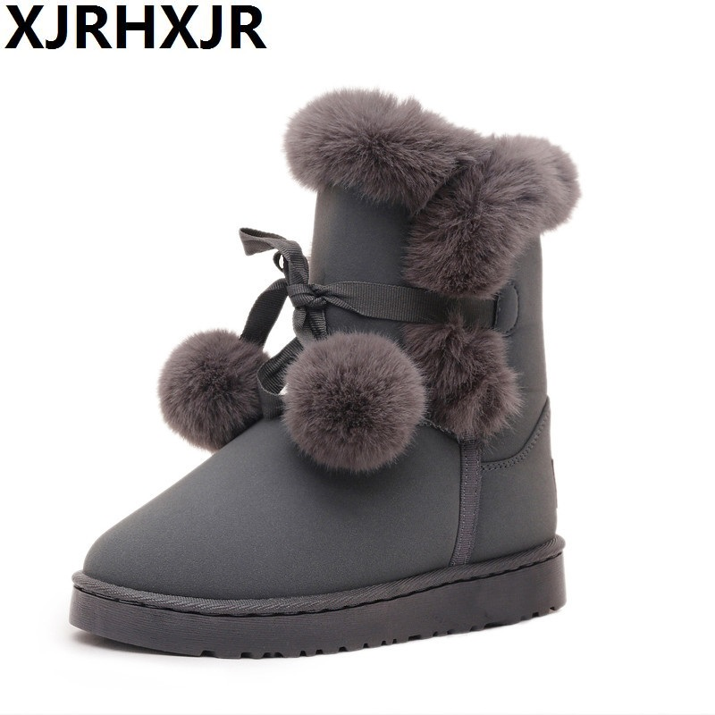 XJRHXJR Women Fashion Fur Warm Plush Snow Boots Winter Lovely Ankle Boots Slip on Comfortable Flat Platform Shoes Woman snow fur slip on fashion round toe winter boots women ankle flat shoes celebrity gray bow booties chinese female short new