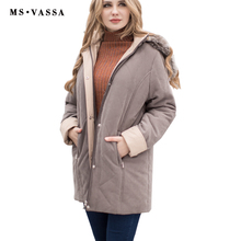 2017 Women Parkas Spring & Winter Ladies jacket with fake fur hood classic contrast moss high quality outerwear plus size S-7XL