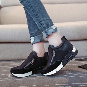 Size 35-42 Women Sneakers Casual Running Shoes Hiking Thick Bottom Platform Wedges Lace Up Woman Sports Black Red