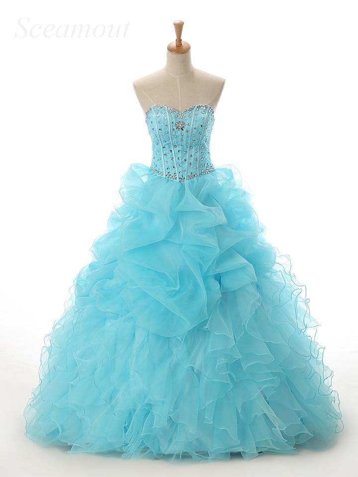 Angemessen Sexy Ballkleid Blau Ballkleid Schatz Bodenlangen Organza Rüschen Perlen Kristalle Günstige Coral Quinceanera Kleider