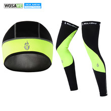 Wolfbike Black Green Leg warmers cycling legwarmers knee pads Fleece leg long sleeve protector sports Accessories with cap(China)