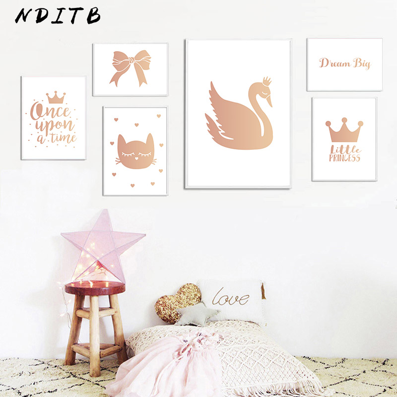 Baby Girl Nursery Wall Art Canvas Painting Swan Cartoon Posters and Prints Nordic Kids Decoration Pictures Living Room Decor Салфетницы