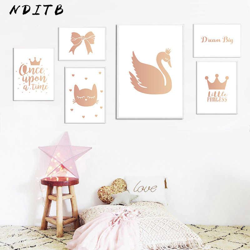 Настенная живопись садик для маленьких девочек, Картина на холсте, Мультяшные постеры лебедя и принты, скандинавские украшения для детей, картины, декор для гостиной