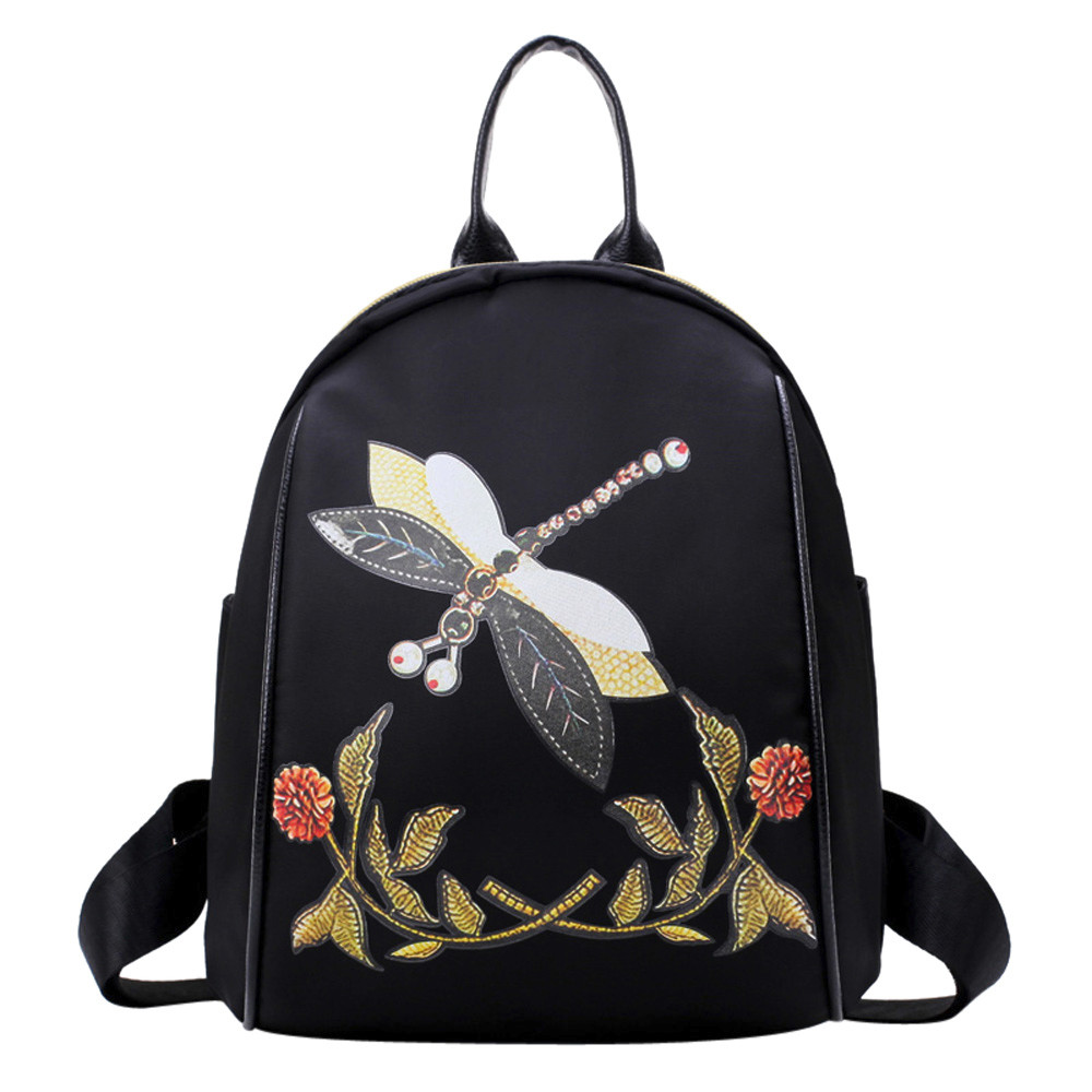 Fashion Embroidery Style Backpack Dragonfly Print Travel Rucksack Women Backpack Female Shoulder Bag mochila escolarFashion Embroidery Style Backpack Dragonfly Print Travel Rucksack Women Backpack Female Shoulder Bag mochila escolar