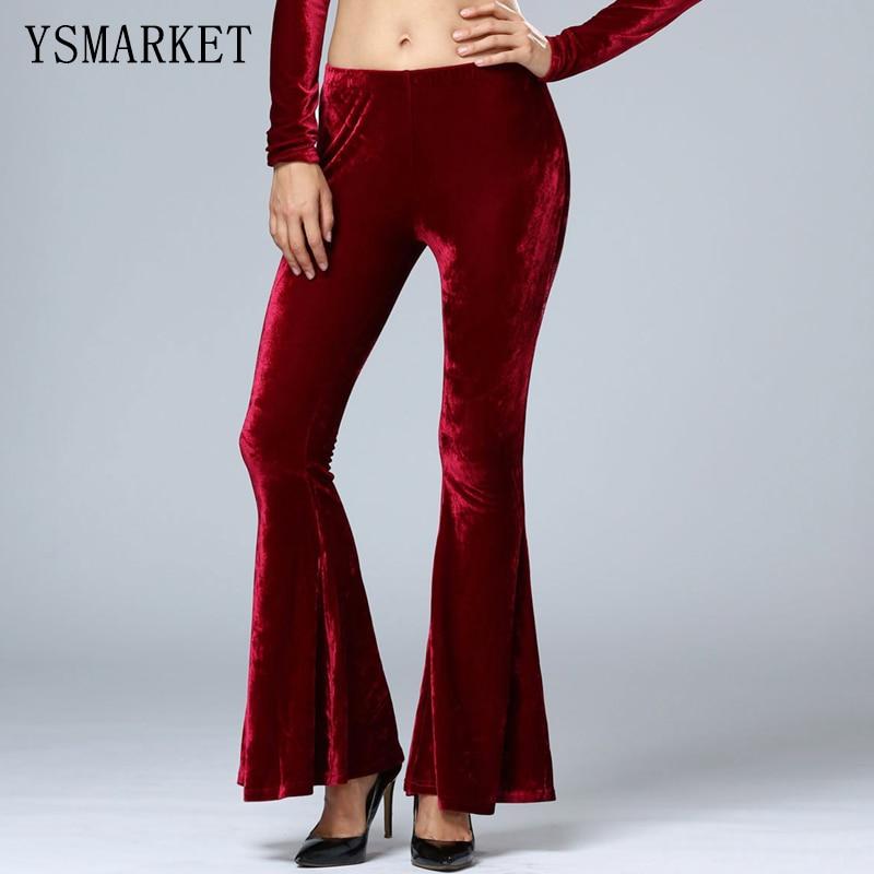 Velvet Thin Solid Stretch Wide Leg Pants Female Trousers Women Elegant Long Dance Pant Slip Flare Casual Boot Cut Pants e1640