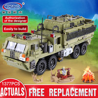 XINGBAO 06014 Military Series 1377Pcs The Scorpion Heavy Truck Set Building Blocks Compatible With lego Military Bricks Toys