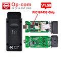 Última Versión OPCOM con PIC18F458 V1.59 viruta OBD2 OP-COM/OP COM CAN BUS escáner de diagnóstico del Interfaz OBDII Para Opel op com