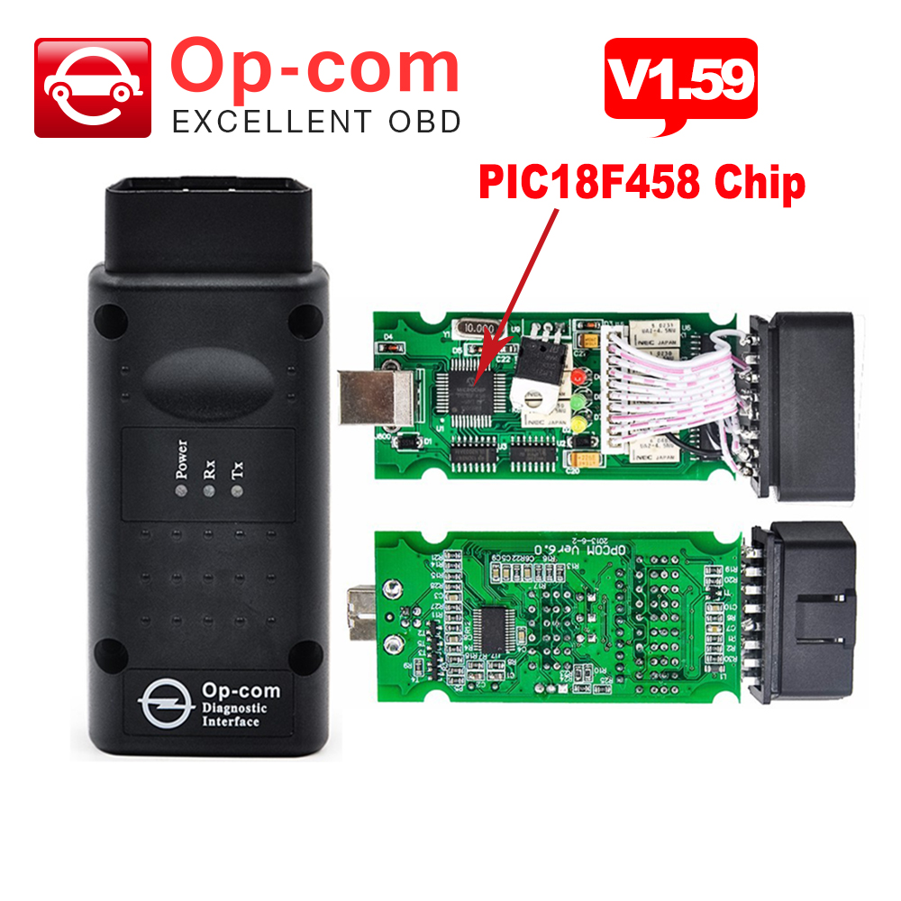 Prix pour Date V1.59 OPCOM V1.59 avec PIC18F458 puce OP-COM obd2 pour opel scanner de diagnostic op com Livraison Gratuite