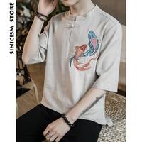 Sinicism Store Mens Cotton Linen Shirt Men Half Sleeve Carp Print Chinese Clothes Male Big Size