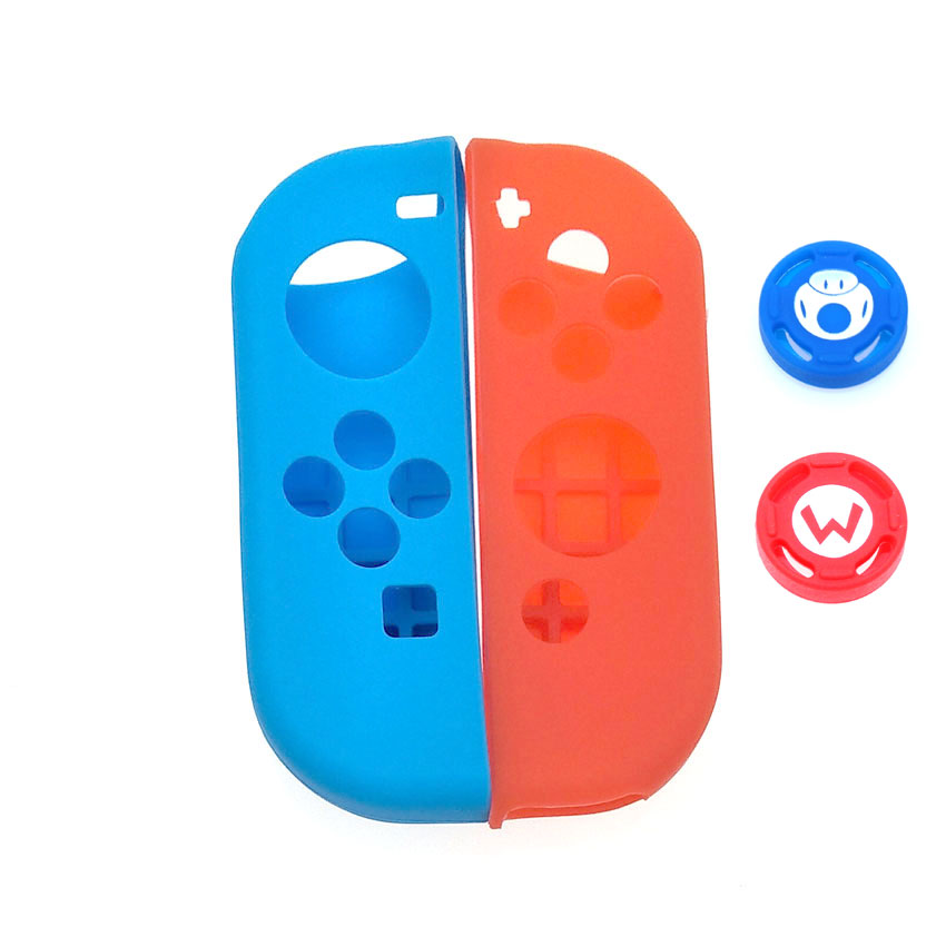 Image 5 - 1 set Soft Silicone Protective Skin Case + 2pcs Controller Grips Joystick Caps Cover for Nintend Switch NS Joy Con Controller-in Cases from Consumer Electronics