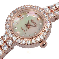 Fashion watch small dial fine watch with diamond fashion trend waterproof simple round crystal diamond watch bracelet watch