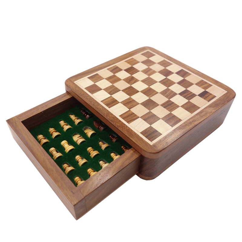 Top Grade Solid Wood Portable Non slip Magnetic Super Mini Chess Set Drawer Pieces Box Children Gifts Crafts Board Game qenueson in Chess Sets from Sports Entertainment