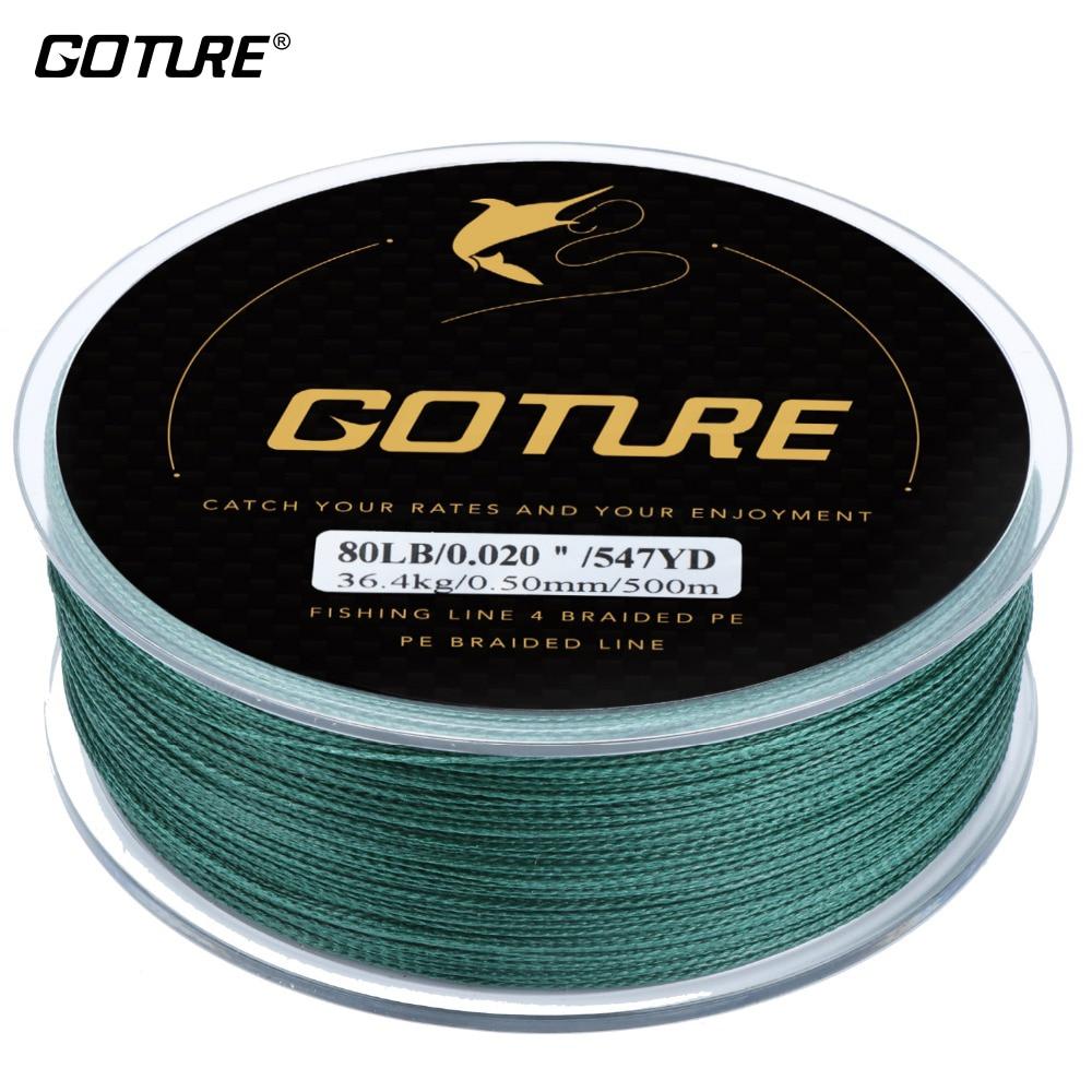 Goture New 4 Stehen Geflochtene Fishing PE Linie 5 Farben 500 mt/547YD 8 10 15 20 25 30 40 50 65 80LB Für Alle Angeln