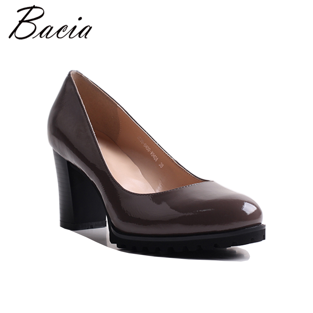 Bacia Women Thick heel Genuine Leather Shoes Ladies High Heels Apricot Round Toe Pumps High quality Classic Shoes 35-40 MWG002