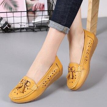 Mãe verão sapatos mulher flats slip on bailarina casuais calçados femininos 2018 moda borla genuína sapatos de couro mulheres sapatos