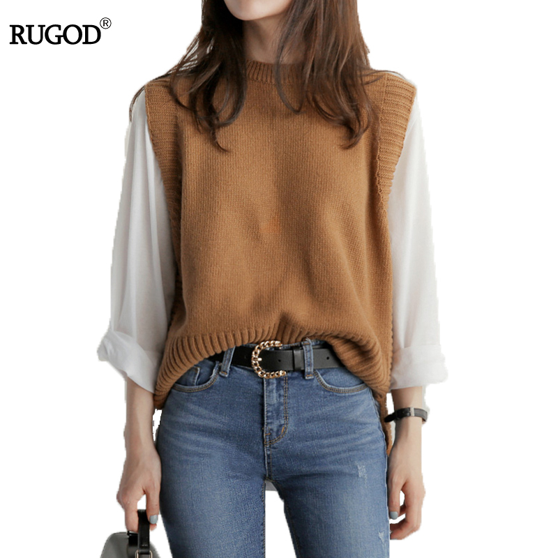 RUGOD 2018 New Spring Women Vest Fashion Solid O-neck Winter Coat Women Plus Size Knitted Winter Pullover Chaleco Mujer