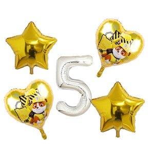 Image 5 - 5pcs ורוד שמיים מרדף PAW סיירת שחור עלה זהב לב לסכל בלוני מספר מסיבת יום הולדת דקור הליום Globos צעצועים תינוק מקלחת